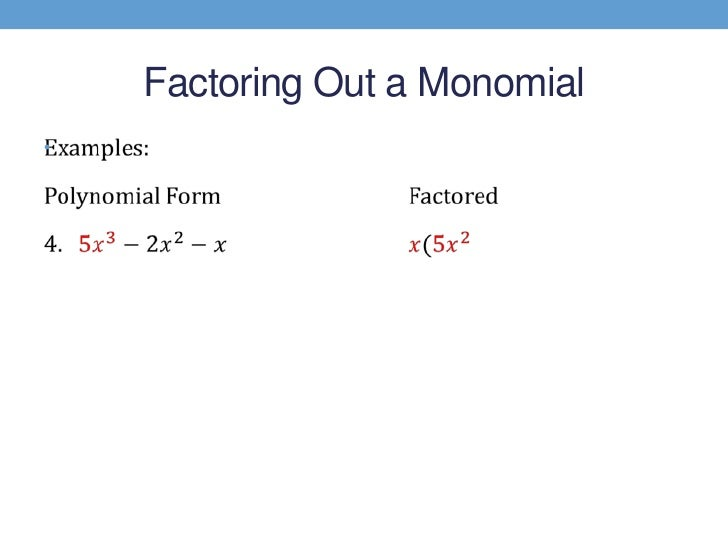 Factoring the greatest common monomial factor – Factoring Greatest Common Factor Worksheet