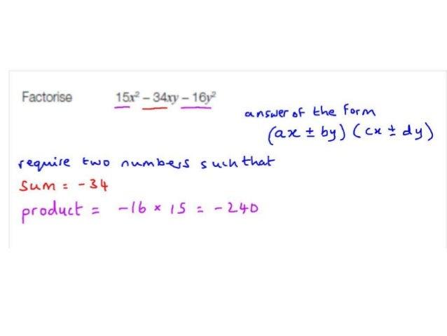Factorisation example (quadratic)
