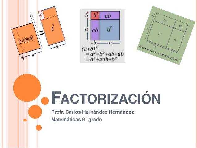 FACTORIZACIÓN  Profr. Carlos Hernández Hernández  Matemáticas 9° grado
