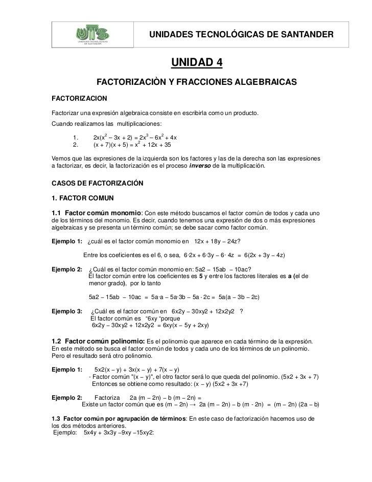 UNIDADES TECNOLÓGICAS DE SANTANDER                                              UNIDAD 4                 FACTORIZACIÒN Y F...