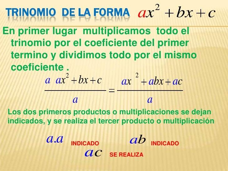 Factorizacion de trinomios de la forma ax2+bx+c