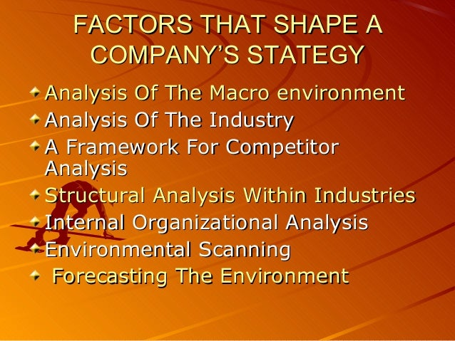 FACTORS THAT SHAPE A   COMPANY'S STATEGYAnalysis Of The Macro environmentAnalysis Of The IndustryA Framework For Competito...