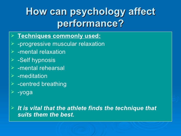 psychological factors that affect performance in sports essay Does the media impact athletic performance one entity that may affect one's cognitive the olympians cited many negative factors influencing performance.