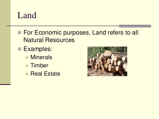 Economic Definition of the Four Factors of Production