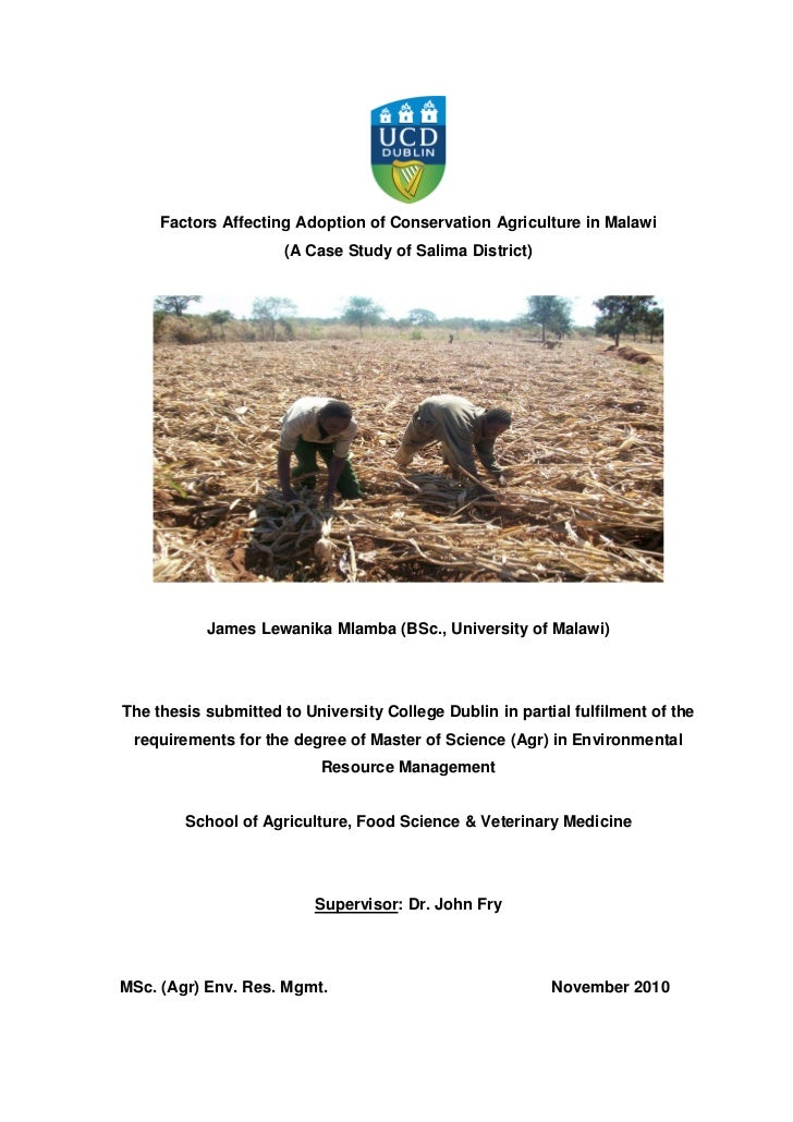Factors Affecting Adoption of Conservation Agriculture in Malawi                      (A Case Study of Salima District)   ...