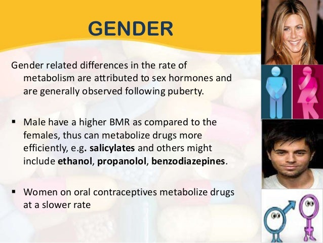 Factors affecting drug metabolism sex