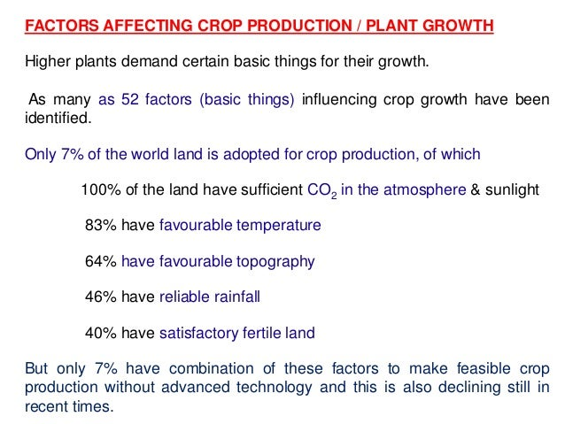 FACTORS AFFECTING CROP PRODUCTION / PLANT GROWTH Higher plants demand certain basic things for their growth. As many as 52...