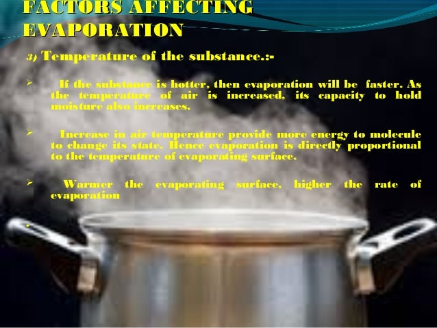 factors that increase the rate of evaporation