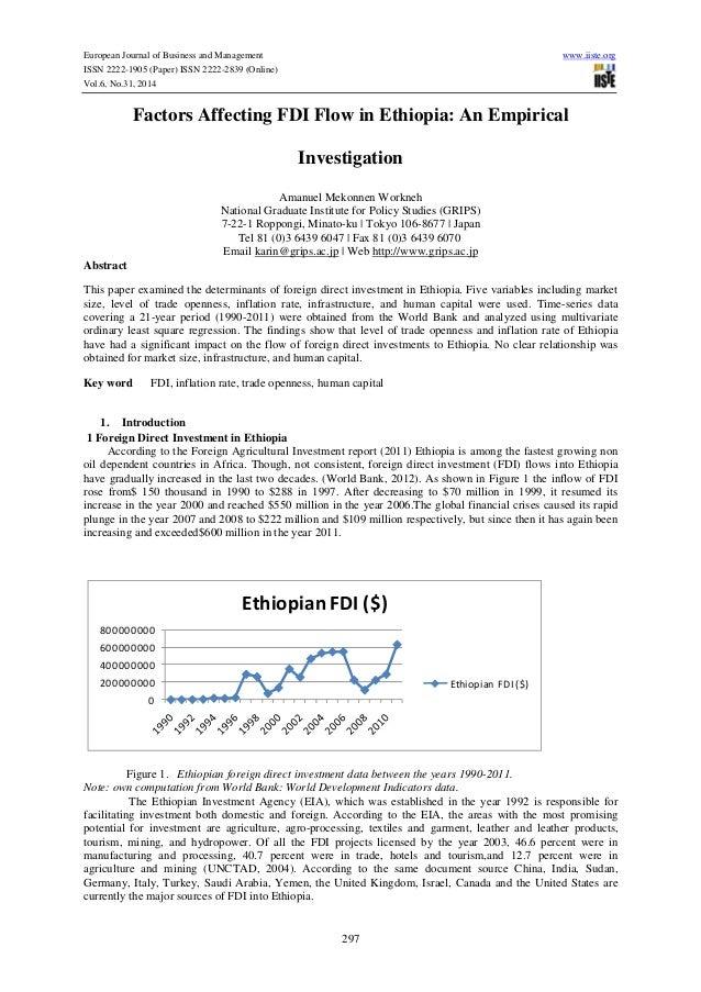 Factors affecting fdi flow in ethiopia