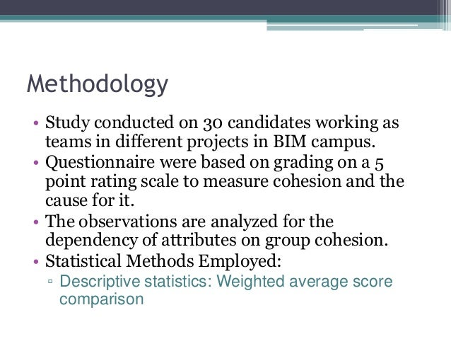 Methodology • Study conducted on 30 candidates working as teams in different projects in BIM campus. • Questionnaire were ...