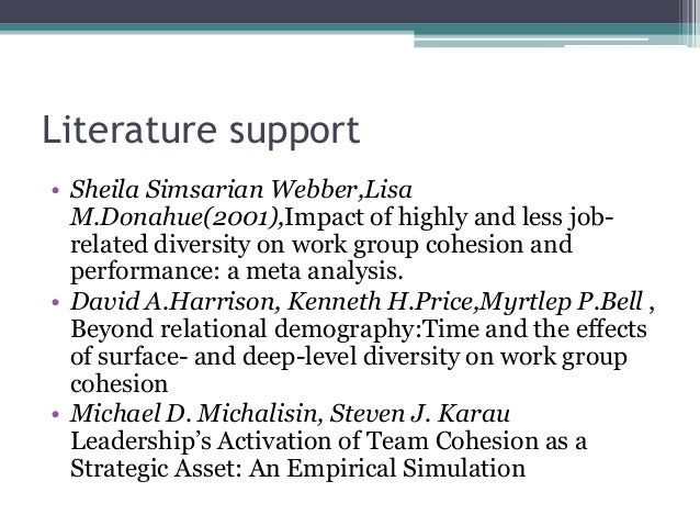 Literature support • Sheila Simsarian Webber,Lisa M.Donahue(2001),Impact of highly and less job- related diversity on work...