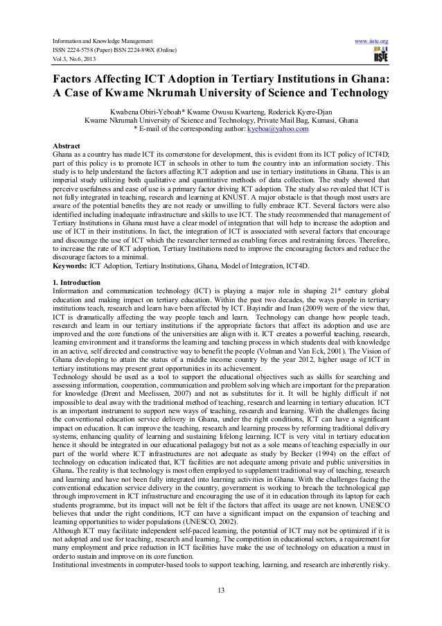 Information and Knowledge Management www.iiste.org ISSN 2224-5758 (Paper) ISSN 2224-896X (Online) Vol.3, No.6, 2013 13 Fac...