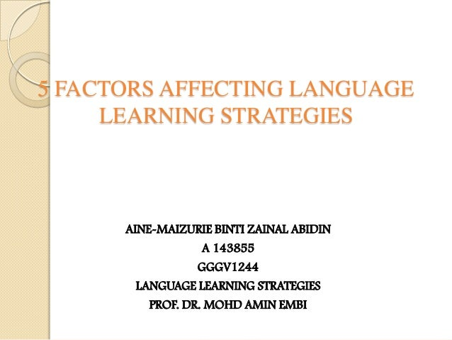 5 FACTORS AFFECTING LANGUAGE LEARNING STRATEGIES  AINE-MAIZURIE BINTI ZAINAL ABIDIN A 143855 GGGV1244 LANGUAGE LEARNING ST...
