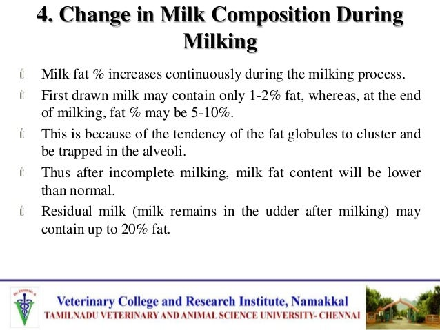 6. Diseases Infection of the udder (mastitis) greatly influences milk composition. Concentrations of fat, solids-not-fat, ...