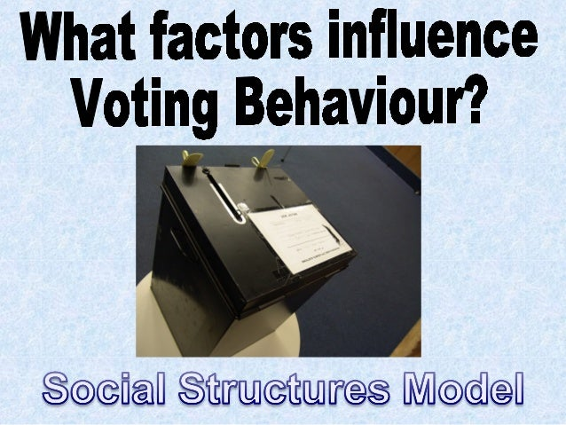 the factors influencing a voter essay What factors influence uk voting behaviour politics essay print theories to explain the factors that influence voting will influence voters when it comes to.