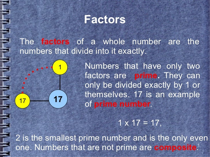 Factors The factors of a whole number are the numbers that divide into it exactly.           1      Numbers that have only...