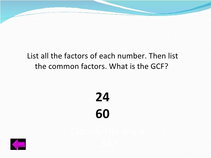 What are the common factors of 60?