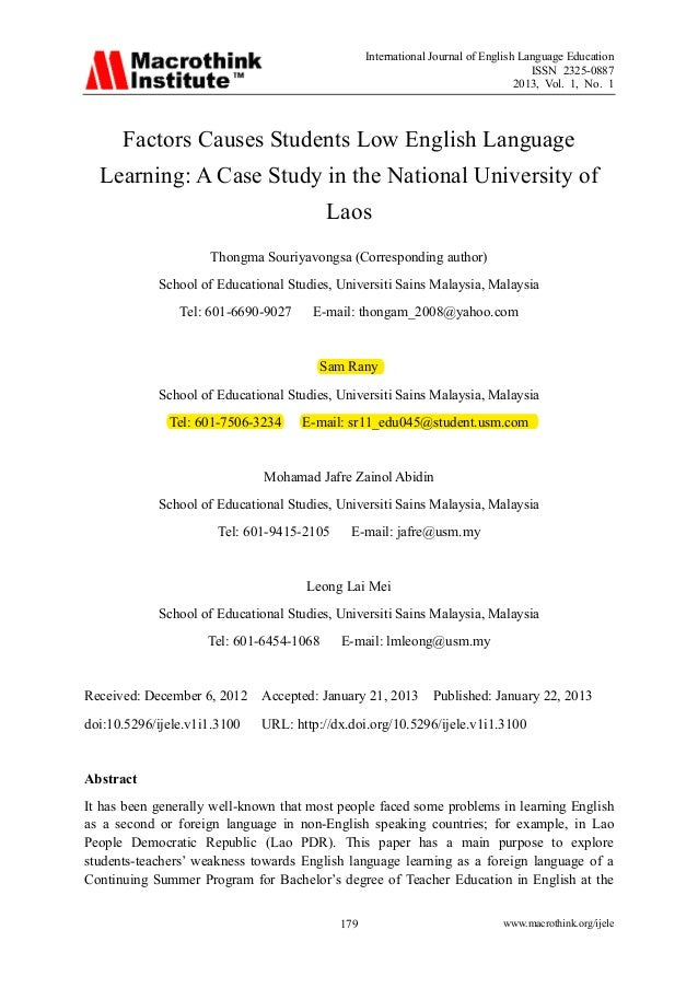 Factors Causes Students Low English Language In National University O