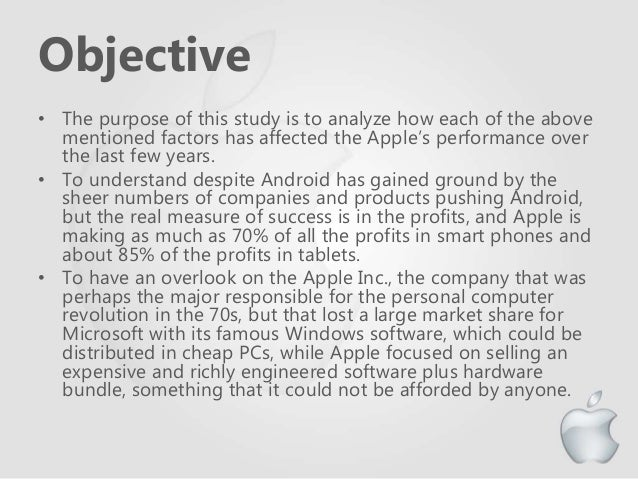 apple inc performance objectives What changes to apple's vision/ mission, objectives, and the strategies would you apple corporation has the objective of apple inc mission and vision.