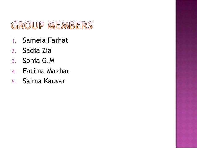 1.   Sameia Farhat2.   Sadia Zia3.   Sonia G.M4.   Fatima Mazhar5.   Saima Kausar