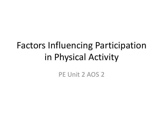 Factors Influencing Participation in Physical Activity PE Unit 2 AOS 2