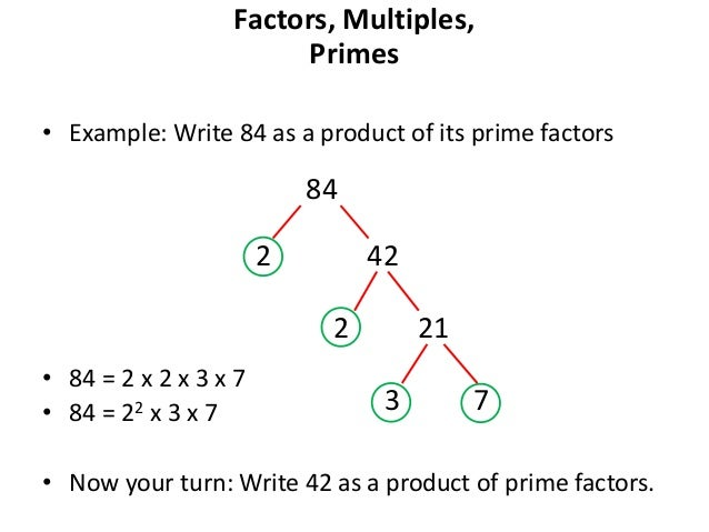 write 42 as a product of prime factors Answer to write 42 and 63 as products of their prime factors please explain simple defintion.
