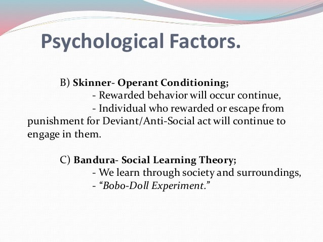 biological psychological factors crime Chapter overview biological, psychological, and sociological explanations rely on the theoretical and methodological tools of their respective disciplines to account for the presence of delinquency and crime in society.
