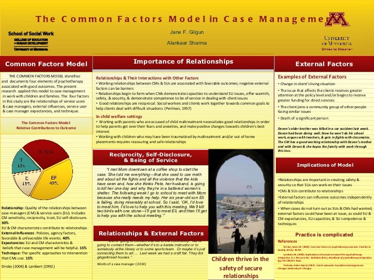 THE COMMON FACTORS MODEL identifies  and  documents four elements of psychotherapy associated with good outcomes. The pres...