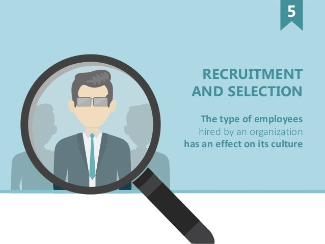 RECRUITMENT AND SELECTION hired by an organization has an effect on its culture The type of employees 5