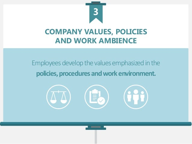 COMPANY VALUES, POLICIES AND WORK AMBIENCE Employeesdevelopthevaluesemphasizedinthe policies,proceduresandworkenvironment....