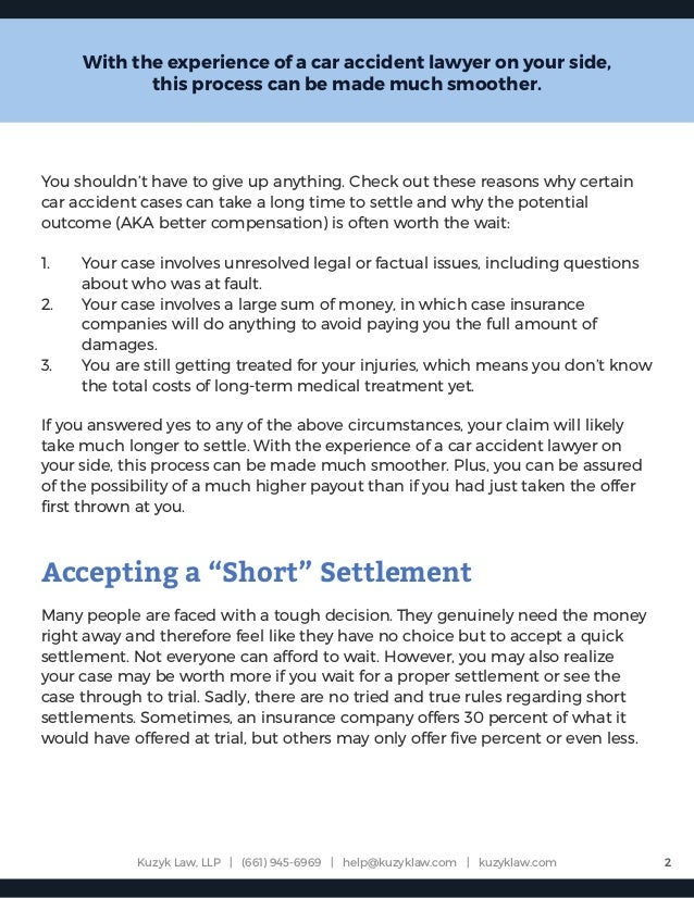 Factors to be Aware of Before You Accept a Quick Settlement