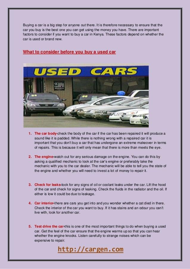 Factors To Consider Before You Buy A Car In Kenya