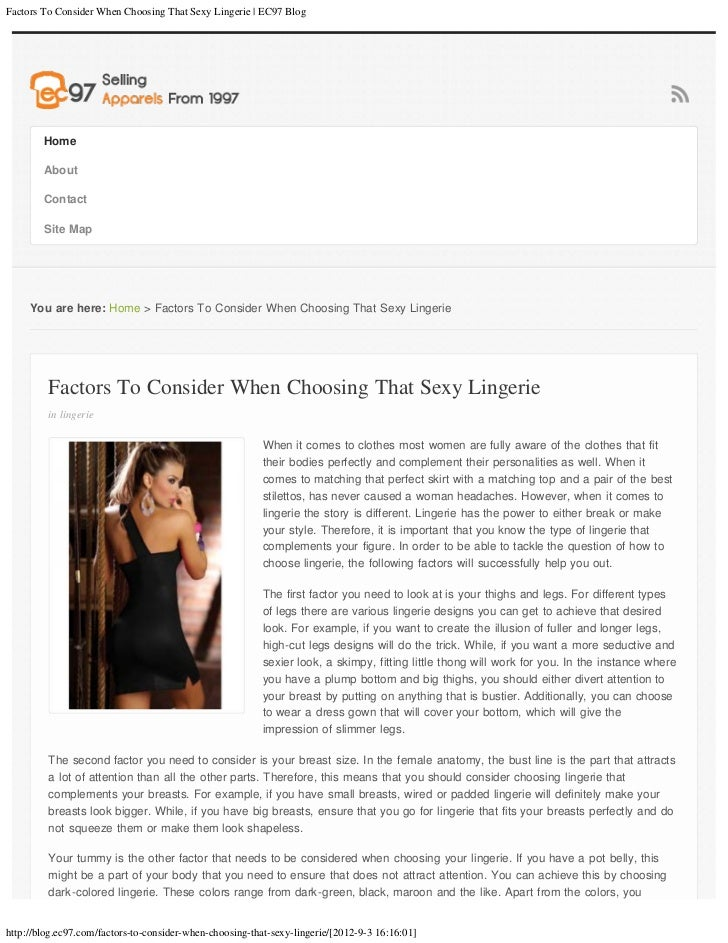 Factors To Consider When Choosing That Sexy Lingerie | EC97 Blog        Home        About        Contact        Site Map  ...