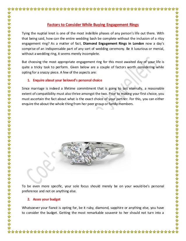 Factors to Consider While Buying Engagement Rings Tying the nuptial knot is one of the most indelible phases of any person...