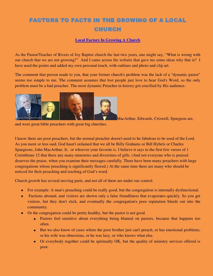 """FACTORS TO FACTS IN THE GROWING OF A LOCAL CHURCH<br /> HYPERLINK """" http://newcovenantliving.blogspot.com/2010/05/local-fa..."""