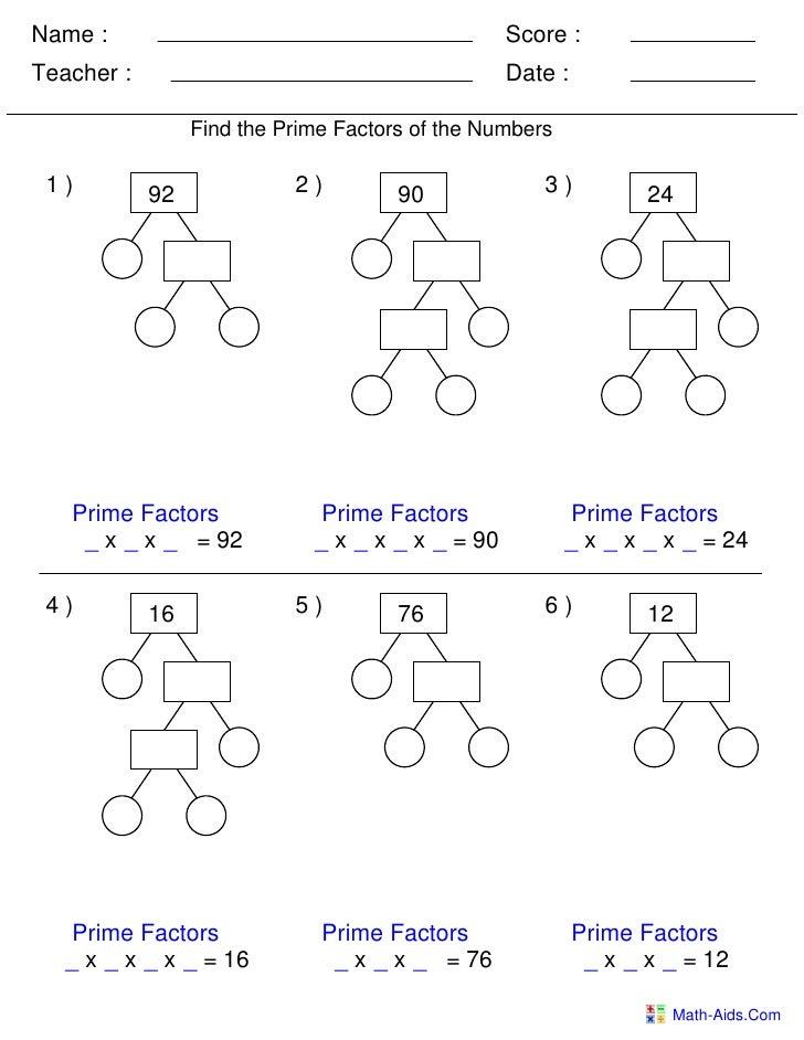 Factor trees worksheets tes