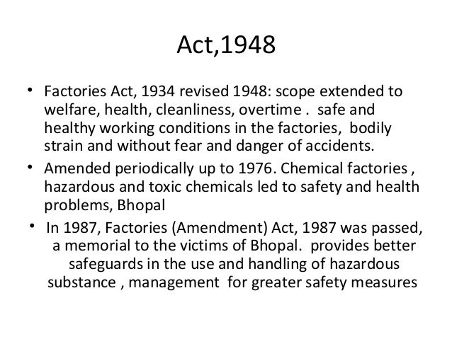 factory act 1948 note What do the labour laws in india say about health and safety faqs including occupational health and safety, health and safety at work act.
