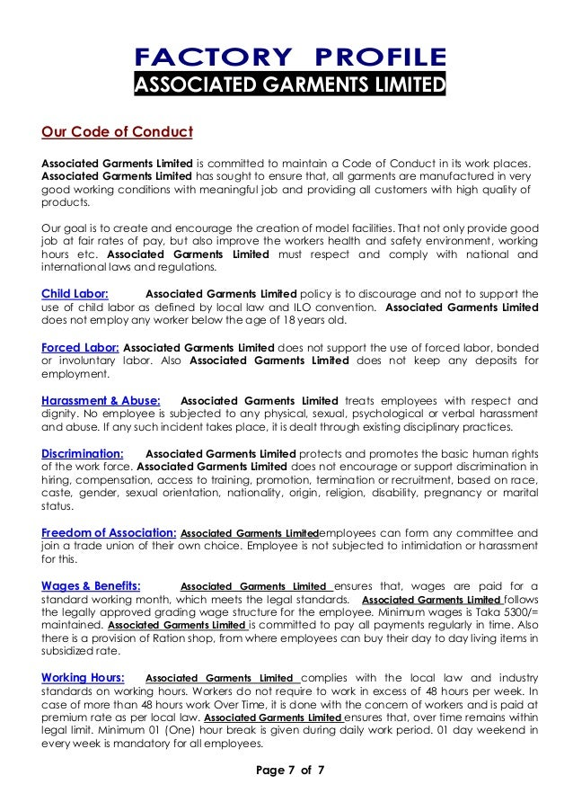 Page 7 of 7 FACTORY PROFILE ASSOCIATED GARMENTS LIMITED Our Code of Conduct Associated Garments Limited is committed to ma...