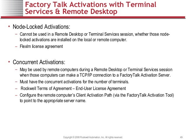 Factory talk activation customer