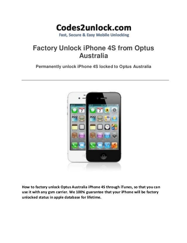 Factory Unlock iPhone 4S from Optus Australia Permanently unlock iPhone 4S locked to Optus Australia  How to factory unloc...