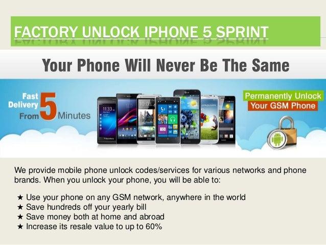 Factory unlock sprint iphone 5