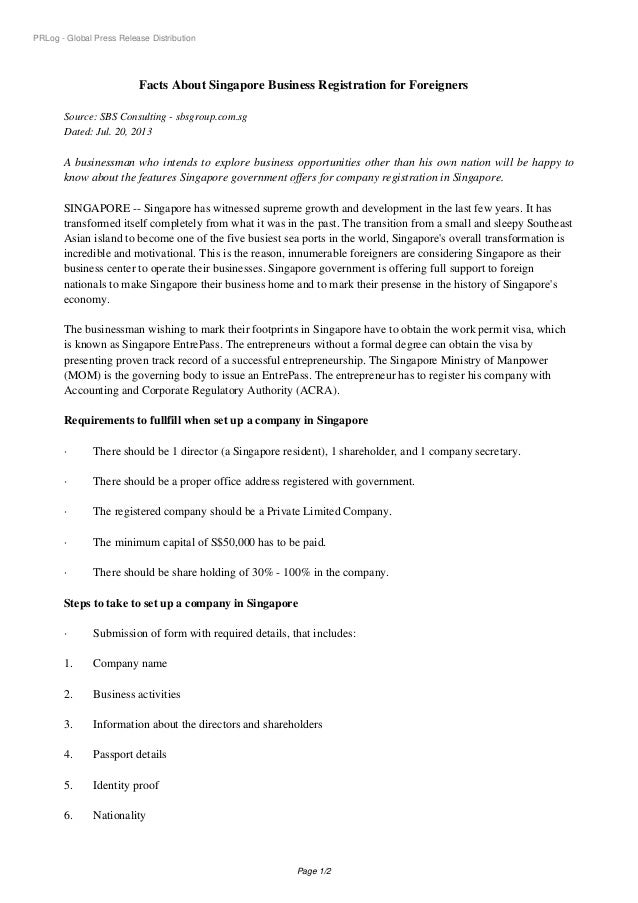 PRLog - Global Press Release Distribution Facts About Singapore Business Registration for Foreigners Source: SBS Consultin...