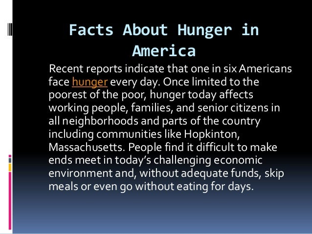 Facts about hunger in america by stephen kelley hopkinton for Fun facts about america