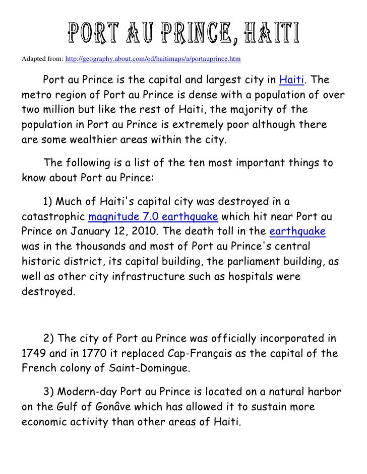 Facts about port au-prince