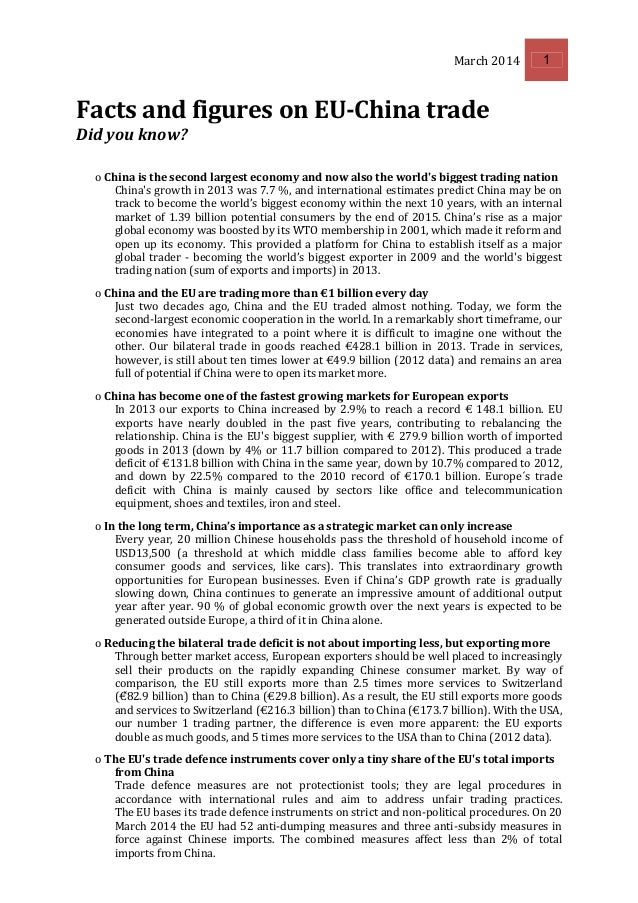 March 2014 1 Facts and figures on EU-China trade Did you know? o China is the second largest economy and now also the worl...