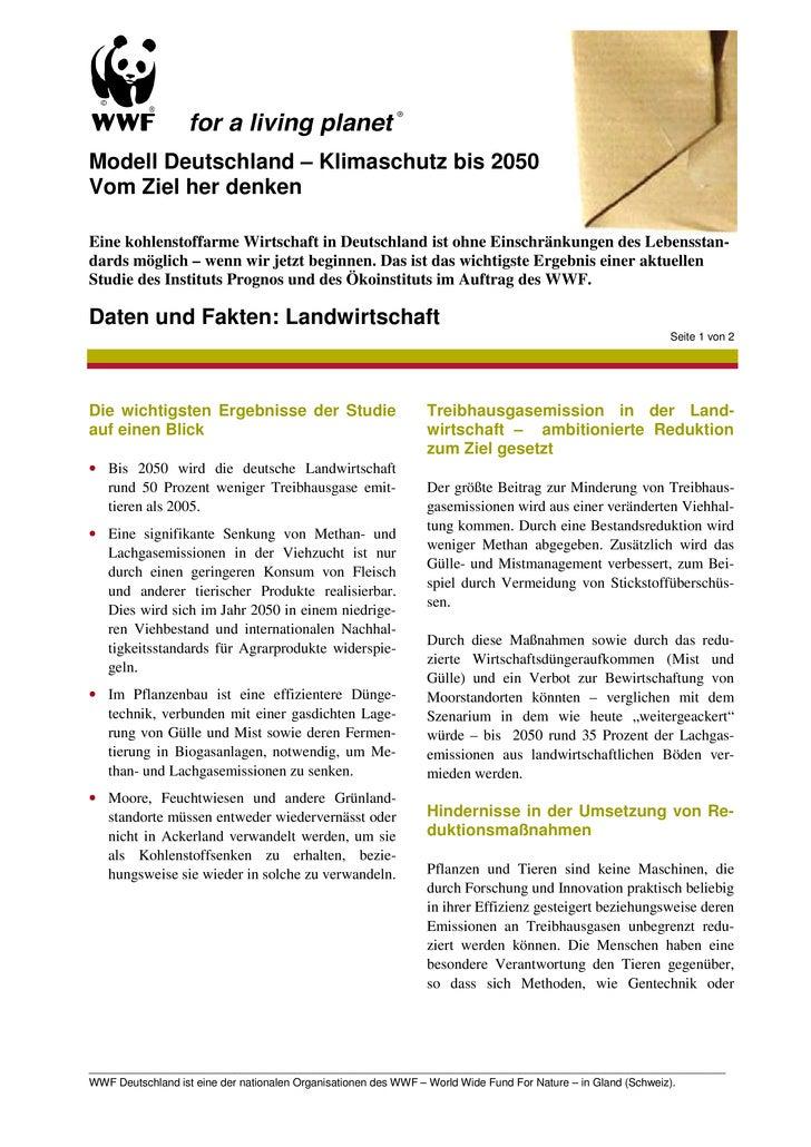 Modell Deutschland – Klimaschutz bis 2050 Vom Ziel her denken  Eine kohlenstoffarme Wirtschaft in Deutschland ist ohne Ein...