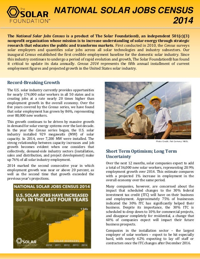 Factsheet: National Solar Jobs Census 2014