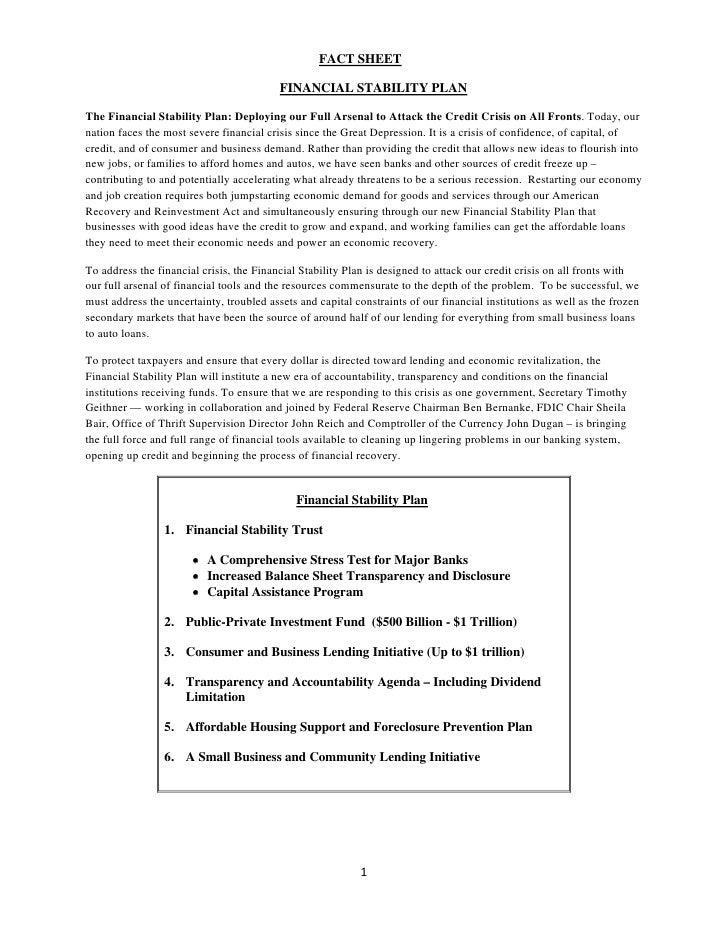 FACT SHEET                                            FINANCIAL STABILITY PLAN  The Financial Stability Plan: Deploying ou...