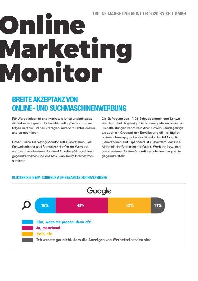 Online Marketing Monitor ONLINE MARKETING MONITOR 2020 BY XEIT GMBH BREITE AKZEPTANZ VON ONLINE- UND SUCHMASCHINENWERBUNG ...