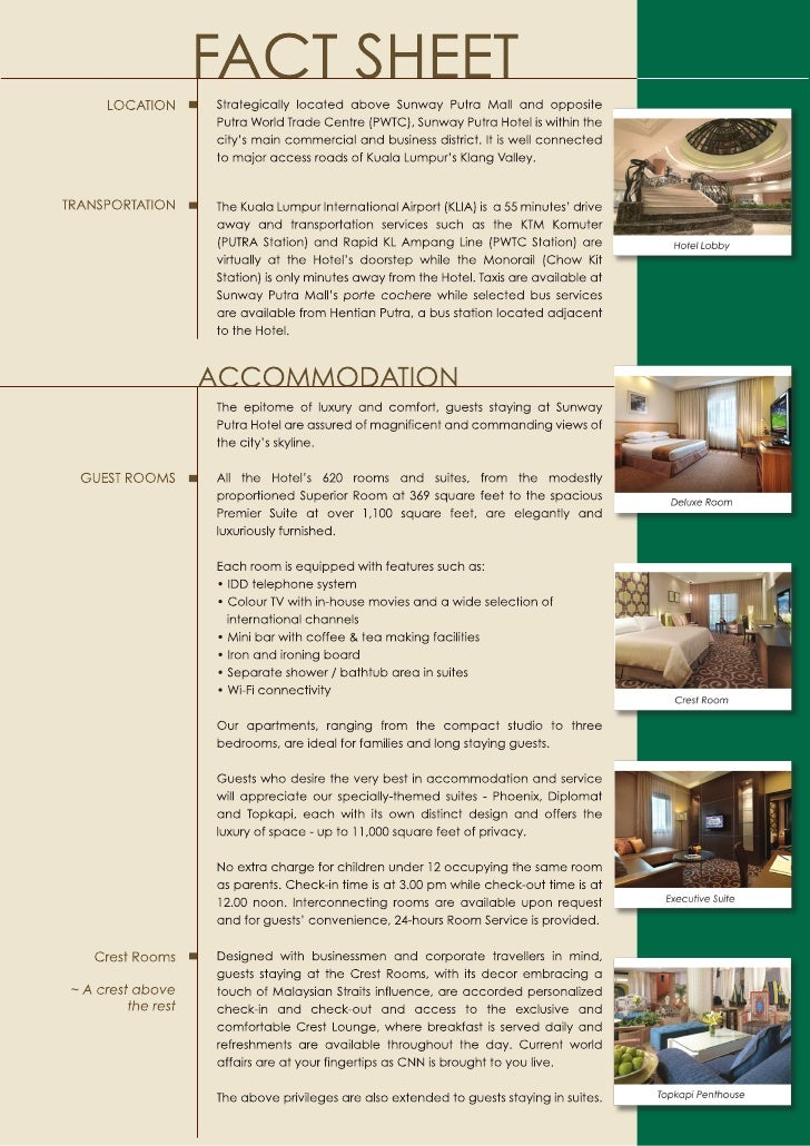Sunway Putra Hotel Accommodation Fact Sheet